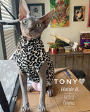 Black and White Cheetah - Nudie Patooties  Sphynx cat clothes for your sphynx cat, sphynx kitten, Donskoy, Bambino Cat, cornish rex, peterbald and devon rex cat.