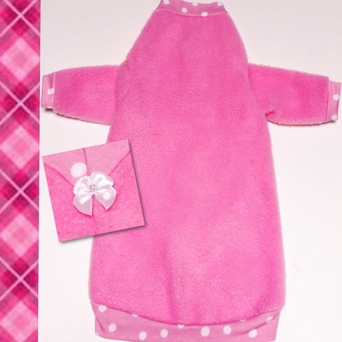 "Long Sleeve Pink and Polka Dot Fleece ""Pretty Pink Polka Dots"" - Nudie Patooties"