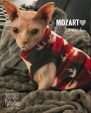 Nudie Patooties Fleece shirt for your sphynx cat, sphynx kitten, Donskoy, Bambino Cat, cornish rex, peterbald and devon rex cat.  Sphynx cat clothes, shirts and sweaters.