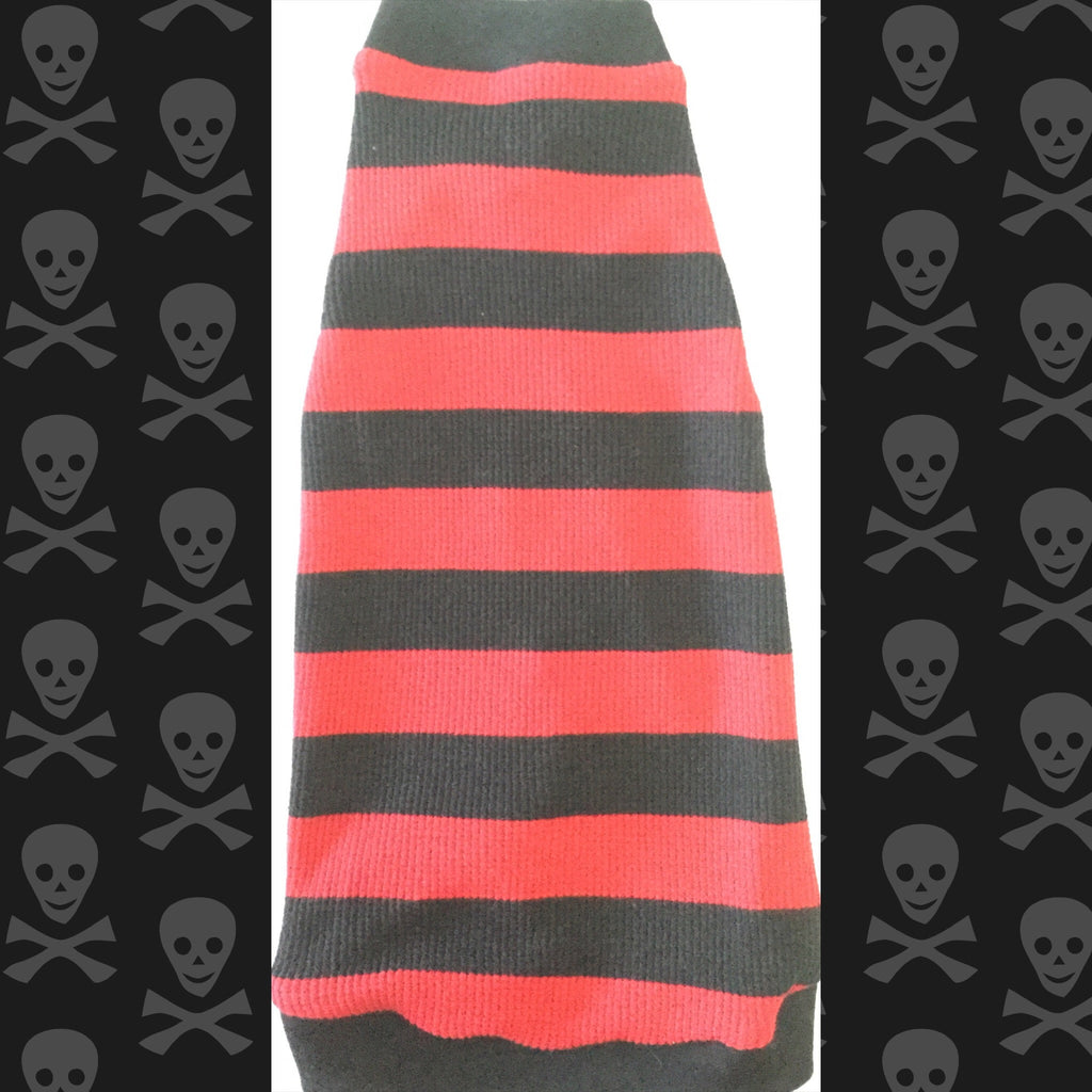 Red and Black Stripe Waffle Shirt