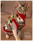 Sugar Skull Fleece Shirt/ Sphynx Cat Fleece Clothes / clothes for cats/ cat overalls /cat shirt/ cat sweater/ cat sweatshirt/ pet sweater/ Sphynx cat clothes/ Sphynx clothing / cats clothes/ shirt for cat/ cat clothes/ tattoo/ skull/ designer cat clothes/ cat pjs
