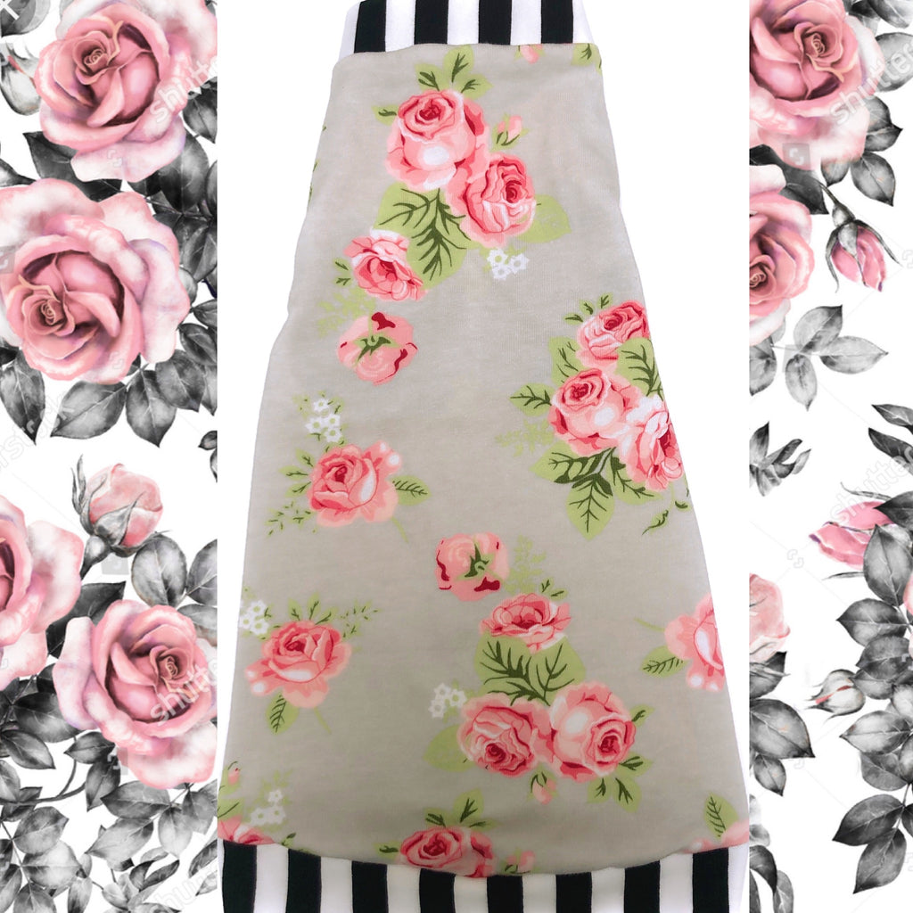 Pink Roses on Gray with Stripes