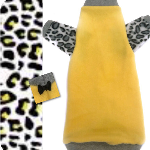 "Long Sleeve Yellow with Gray Leopard Fleece""Alley Cat"""