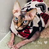 "Black and Red Heart Fleece ""I'm Yours"" - Nudie Patooties  Sphynx cat clothes for your sphynx cat, sphynx kitten, Donskoy, Bambino Cat, cornish rex, peterbald and devon rex cat."