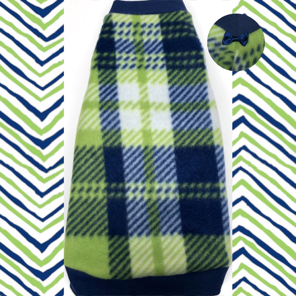 "Navy and Lime Plaid Fleece ""Once in a Blue Moon"""