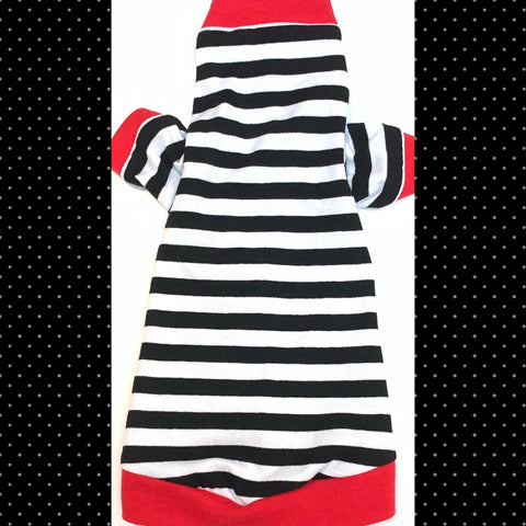 Long Sleeve Black & White Stripe w/ Red Trim