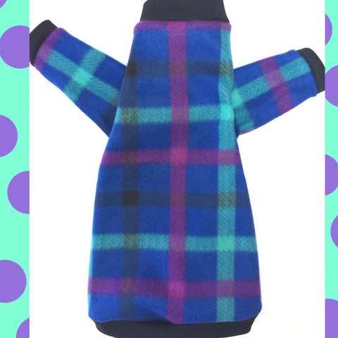 "Long Sleeve Blue, Purple, Green Plaid Fleece ""Cattitude"""