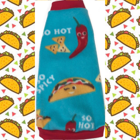 "Blue Taco Fleece ""So Hot and Spicy"" - Nudie Patooties  Sphynx cat clothes for your sphynx cat, sphynx kitten, Donskoy, Bambino Cat, cornish rex, peterbald and devon rex cat."