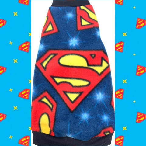 "Blue Superman Fleece ""Look! Up in the sky!"" - Nudie Patooties  Sphynx cat clothes for your sphynx cat, sphynx kitten, Donskoy, Bambino Cat, cornish rex, peterbald and devon rex cat."