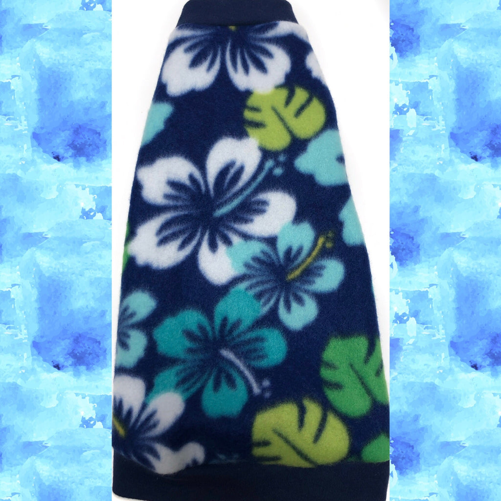 "Navy and Green Fleece ""Tropical Flowers"""