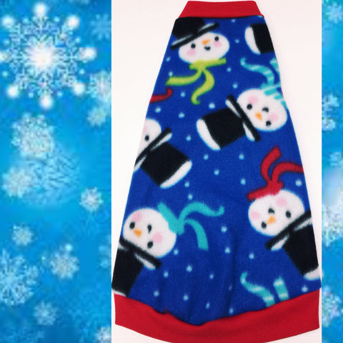 "Blue Snowmen Fleece ""Up to Snow Good!"" - Nudie Patooties  Sphynx cat clothes for your sphynx cat, sphynx kitten, Donskoy, Bambino Cat, cornish rex, peterbald and devon rex cat."