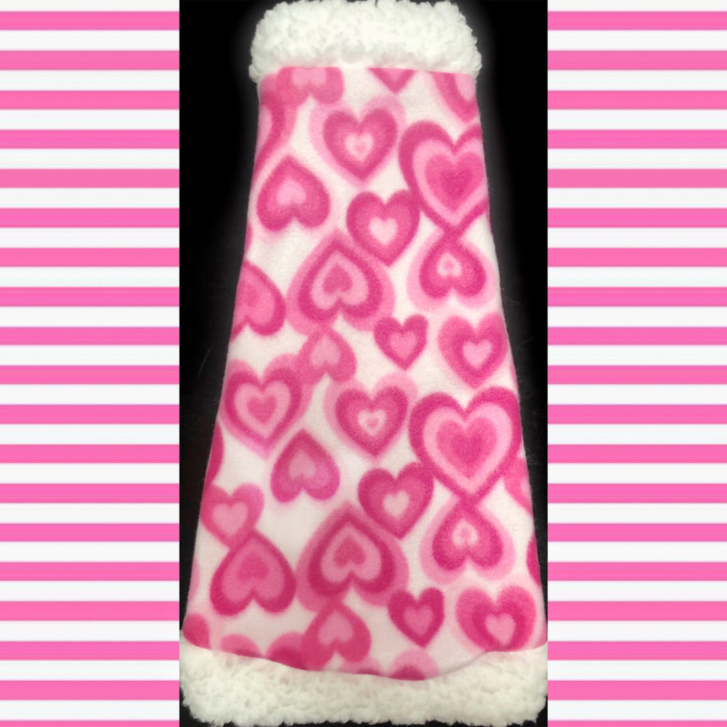"Pink and White Fleece with Sherpa Fur Collar ""Stealing Hearts"""
