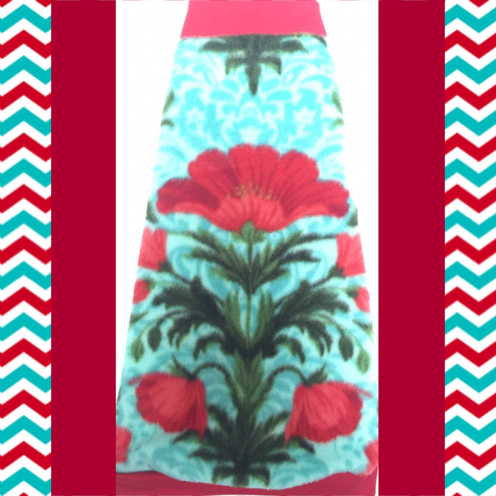 "Red and Turquoise Flower Fleece ""Garden of Happiness"" - Nudie Patooties"