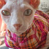 Argyle Plaid - Fuchsia and Mustard - Nudie Patooties  Sphynx cat clothes for your sphynx cat, sphynx kitten, Donskoy, Bambino Cat, cornish rex, peterbald and devon rex cat.