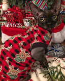 "Christmas Reindeer Shirt ""The Buck Stops Here"" - Nudie Patooties  Sphynx cat clothes for your sphynx cat, sphynx kitten, Donskoy, Bambino Cat, cornish rex, peterbald and devon rex cat."