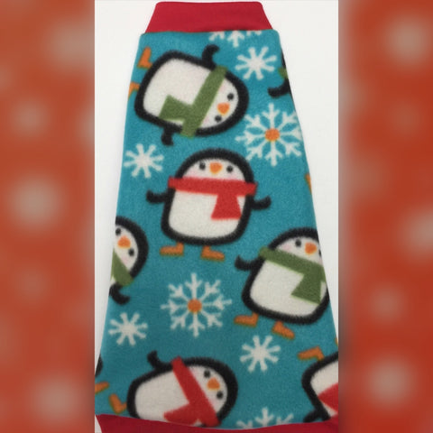 "Christmas Penguin Fleece ""Cool Christmas"" - Nudie Patooties  Sphynx cat clothes for your sphynx cat, sphynx kitten, Donskoy, Bambino Cat, cornish rex, peterbald and devon rex cat."