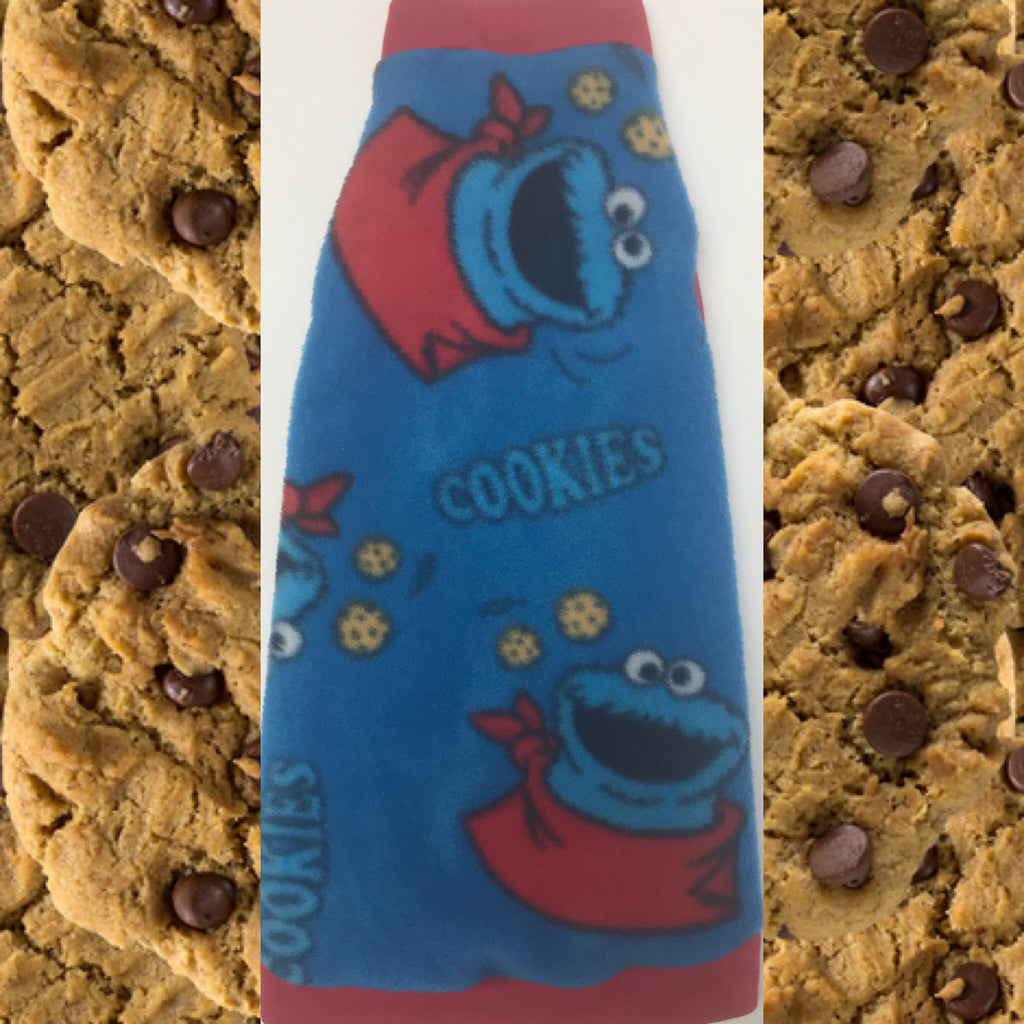 "Cookie Monster Fleece ""Me Want Cookie"" - Nudie Patooties  Sphynx cat clothes for your sphynx cat, sphynx kitten, Donskoy, Bambino Cat, cornish rex, peterbald and devon rex cat."