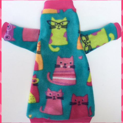 "Long Sleeve Cats Fleece ""Cool Cat"""