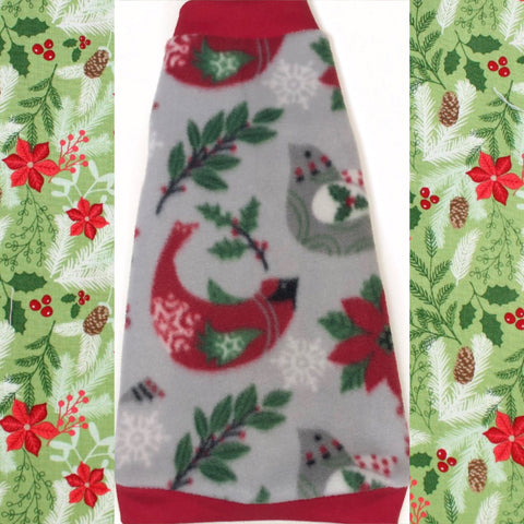 "Christmas Bird and Holly Fleece ""Peace on Earth"" - Nudie Patooties  Sphynx cat clothes for your sphynx cat, sphynx kitten, Donskoy, Bambino Cat, cornish rex, peterbald and devon rex cat."