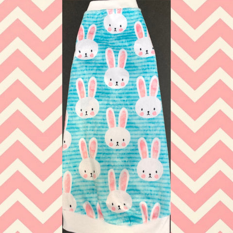 Minky Stripe Blue Easter Bunnies