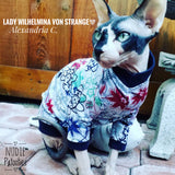 Heart anchors/Sphynx Cat Fleece Clothes / clothes for cats/ cat overalls /cat shirt/ cat sweater/ cat sweatshirt/ pet sweater/ Sphynx cat clothes/ Sphynx clothing / cats clothes/ shirt for cat/ cat clothes/ tattoo/ skull/ designer cat clothes/ cat pjs