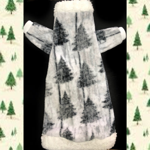 "Long Sleeve Grey Fleece with Sherpa Fur Collar ""O Christmas Tree"""