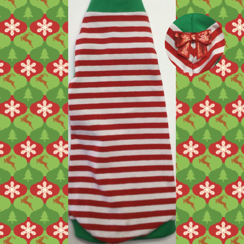 "Christmas Red and White Stripe Shirt ""Santa's Little Helper"" - Nudie Patooties  Sphynx cat clothes for your sphynx cat, sphynx kitten, Donskoy, Bambino Cat, cornish rex, peterbald and devon rex cat."