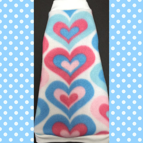 "Blue and Pink Heart Fleece ""Sweet as Sugar"" - Nudie Patooties  Sphynx cat clothes for your sphynx cat, sphynx kitten, Donskoy, Bambino Cat, cornish rex, peterbald and devon rex cat."
