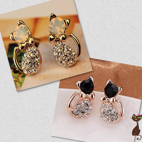 Rhinestone Cat Body Earrings - Nudie Patooties