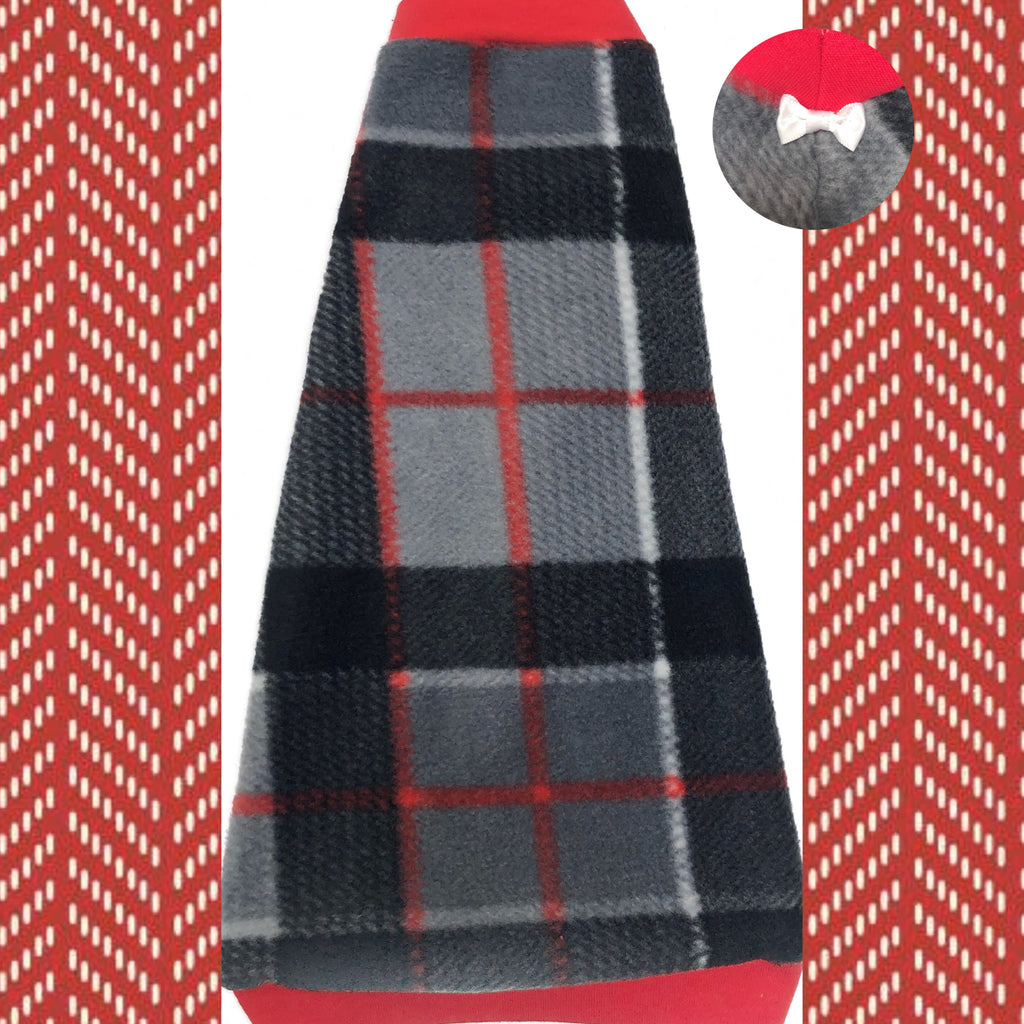 "Red and Grey Plaid Fleece ""Keep Life Simple"""