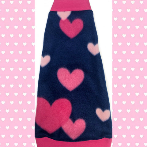 "Hot Pink and Navy Heart Fleece ""Follow Your Heart"""