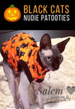 Black cat Halloween shirt for your sphynx cat and kitten.  Sphynx clothes.