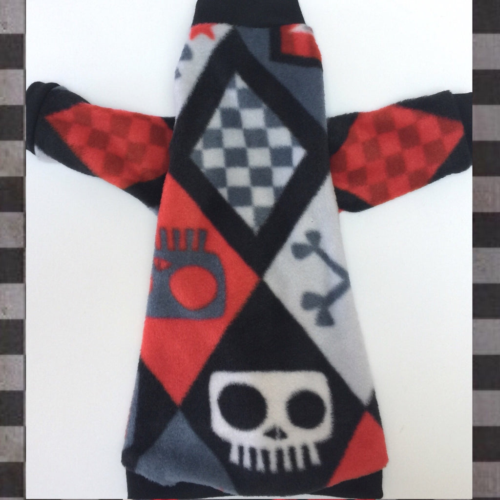 "Long Sleeve Red and Black Skulls Fleece ""Skull and Crossbones"" - Nudie Patooties"