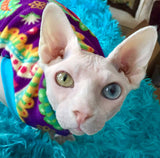 Paisley fleece shirt for your sphynx cat/ kitten, peterbald, cornish rex, devon rex, odd eye sphynx, sphynx clothes, cat clothes