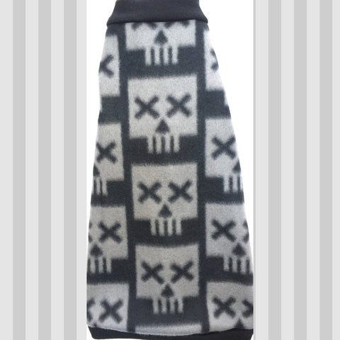 "Black and Grey Skull Fleece ""Cross Eyed Skull"" - Nudie Patooties  Sphynx cat clothes for your sphynx cat, sphynx kitten, Donskoy, Bambino Cat, cornish rex, peterbald and devon rex cat."