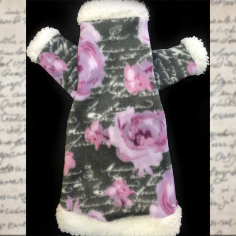"Long Sleeve Floral Fleece with Sherpa Fur Collar ""Orchid"""