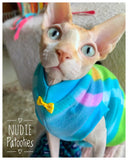 Nudie Patooties Fleece shirt for your sphynx cat, sphynx kitten, cornish rex, peterbald and devon rex cat.  Sphynx cat clothes, shirts and sweaters.