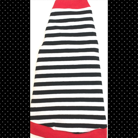 Black & White Stripe w/ Red Trim