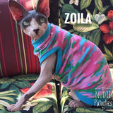 Blue, Green, and Pink Camo - Nudie Patooties  Sphynx cat clothes for your sphynx cat, sphynx kitten, Donskoy, Bambino Cat, cornish rex, peterbald and devon rex cat.