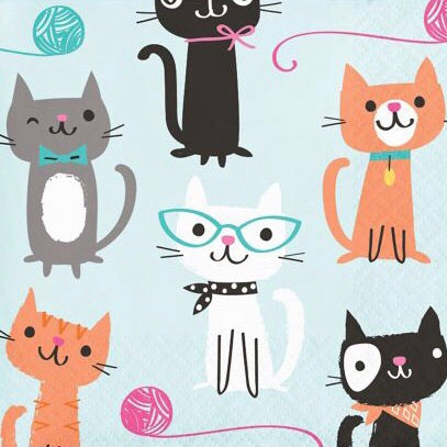 Cat Beverage Cocktail Napkins - Nudie Patooties