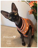 Batty Bat 100% cotton halloween shirt for your sphynx cat and kitten.  sphynx clothes
