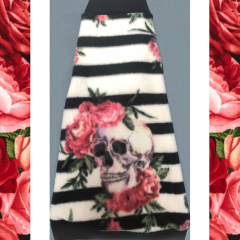 "Black and White Stripe with Roses Fleece ""Skulls and Stripes"" - Nudie Patooties  Sphynx cat clothes for your sphynx cat, sphynx kitten, Donskoy, Bambino Cat, cornish rex, peterbald and devon rex cat."