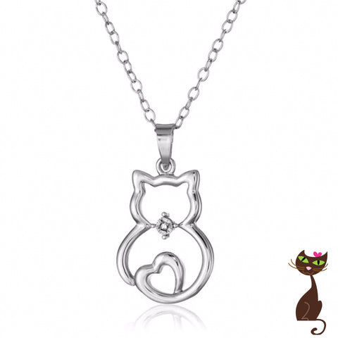 Cat Body Silver Charm Necklace