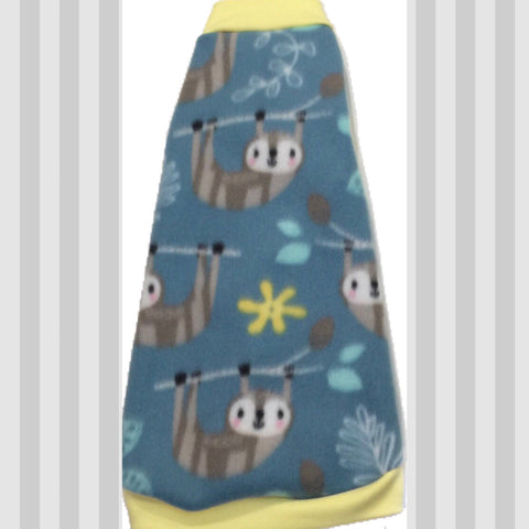 "Aqua and Yellow Fleece ""Sweet Sloths"" - Nudie Patooties  Sphynx cat clothes for your sphynx cat, sphynx kitten, Donskoy, Bambino Cat, cornish rex, peterbald and devon rex cat."