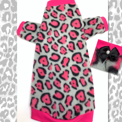 "Long Sleeve Pink Cheetah Fleece ""Jungle Kitty"""