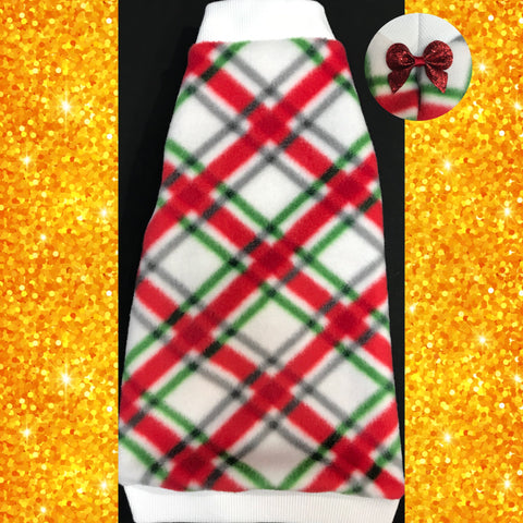 "Christmas Plaid Fleece with Sparkle Bow ""Merry and Bright"" - Nudie Patooties  Sphynx cat clothes for your sphynx cat, sphynx kitten, Donskoy, Bambino Cat, cornish rex, peterbald and devon rex cat."