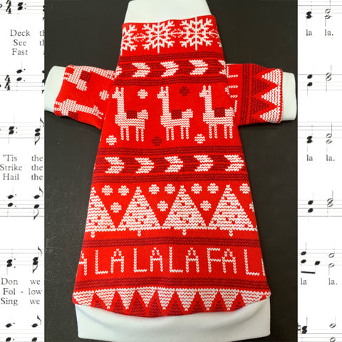 "Long Sleeve Christmas Red and White Shirt ""Fa La La Llama"""