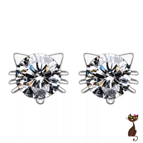Rhinestone Cat Face Earrings - Nudie Patooties