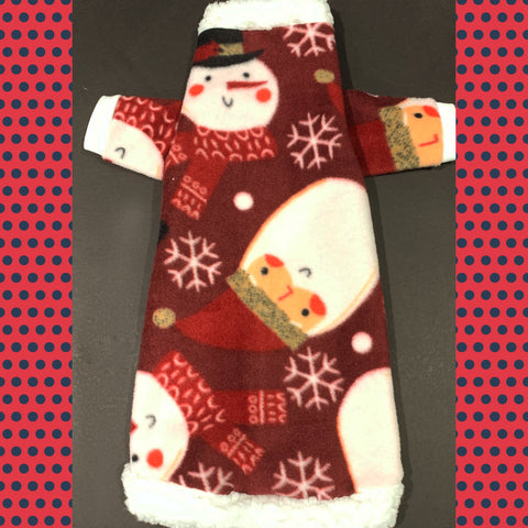"Long Sleeve MAROON Snowman/Santa Fleece w Sherpa Collar ""Buddy"""