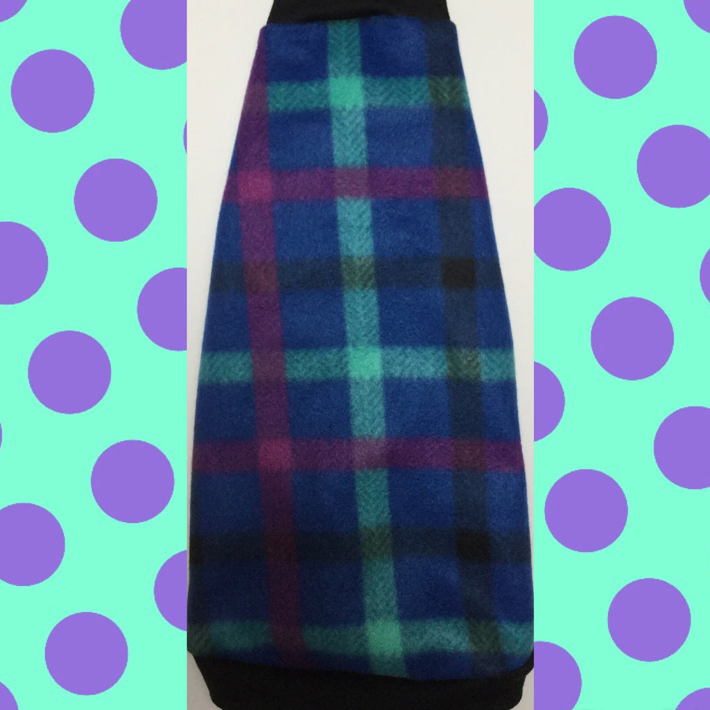 "Blue, Purple, Green Plaid Fleece ""Cattitude"" - Nudie Patooties  Sphynx cat clothes for your sphynx cat, sphynx kitten, Donskoy, Bambino Cat, cornish rex, peterbald and devon rex cat."